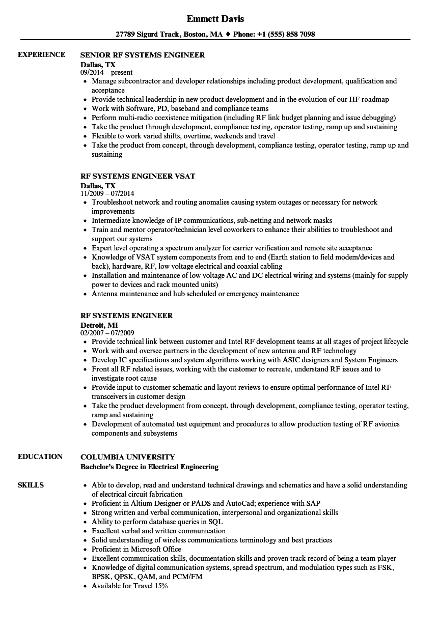 RF Systems Engineer Resume Samples | Velvet Jobs