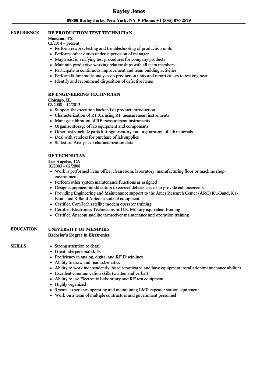Rf systems engineer sample resume