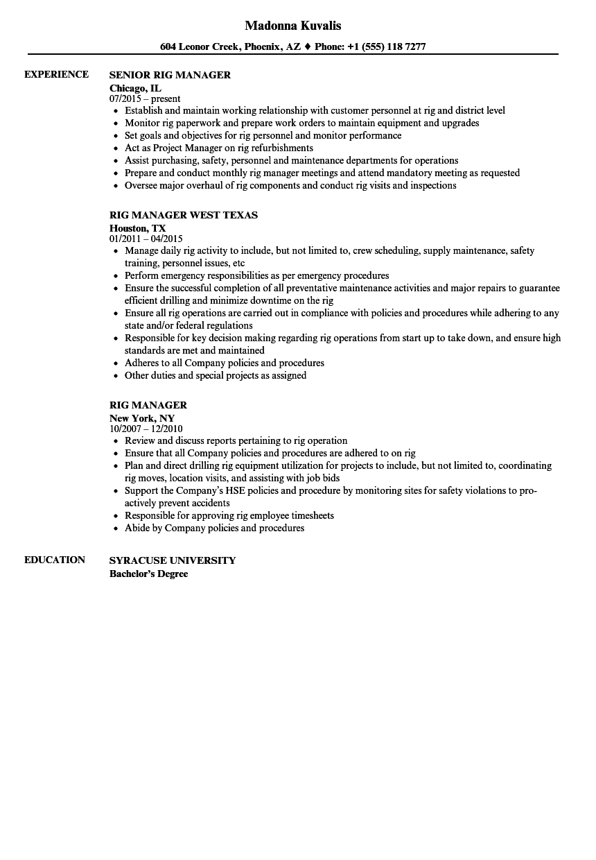 Template Oil Field Resume Samples Service Engineer Process Oilfield