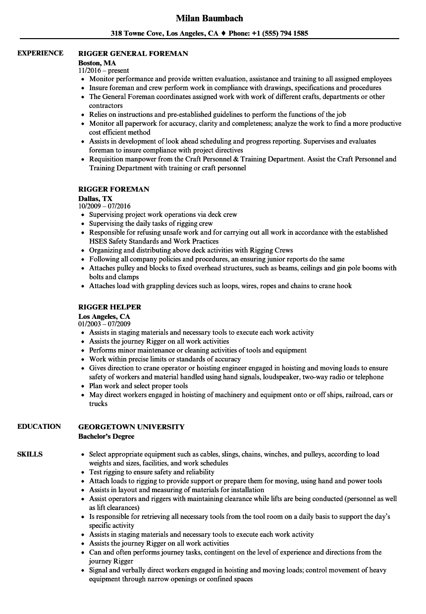 Rigger Resume Samples Velvet Jobs