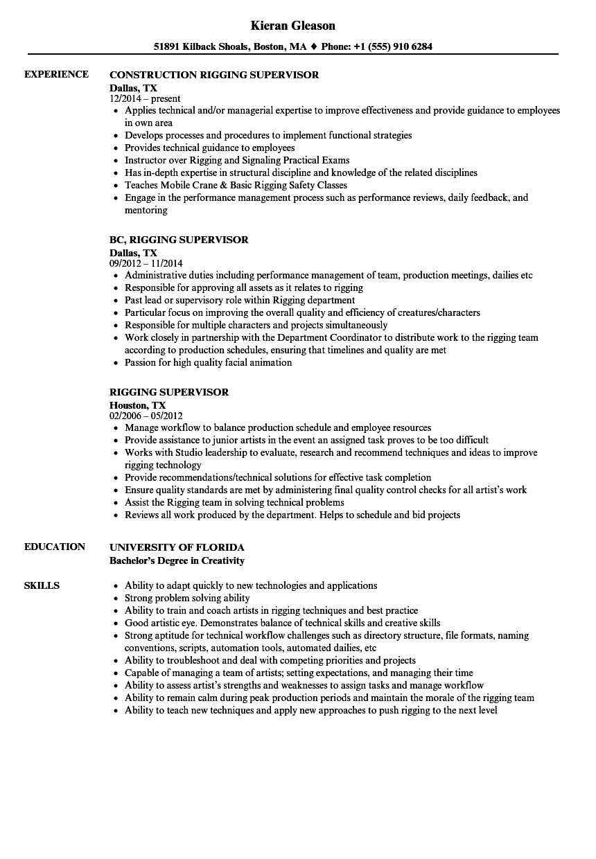 resume Resume For Supervisor In Construction rigging supervisor resume samples velvet jobs download sample as image file