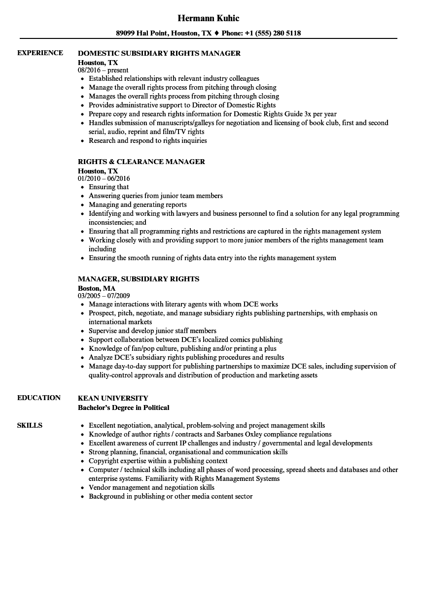 Rights Manager Resume Samples