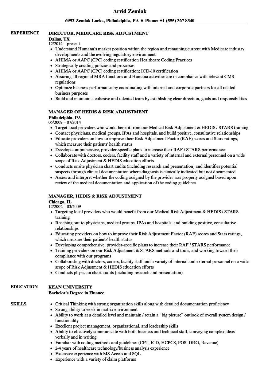 risk adjustment resume samples