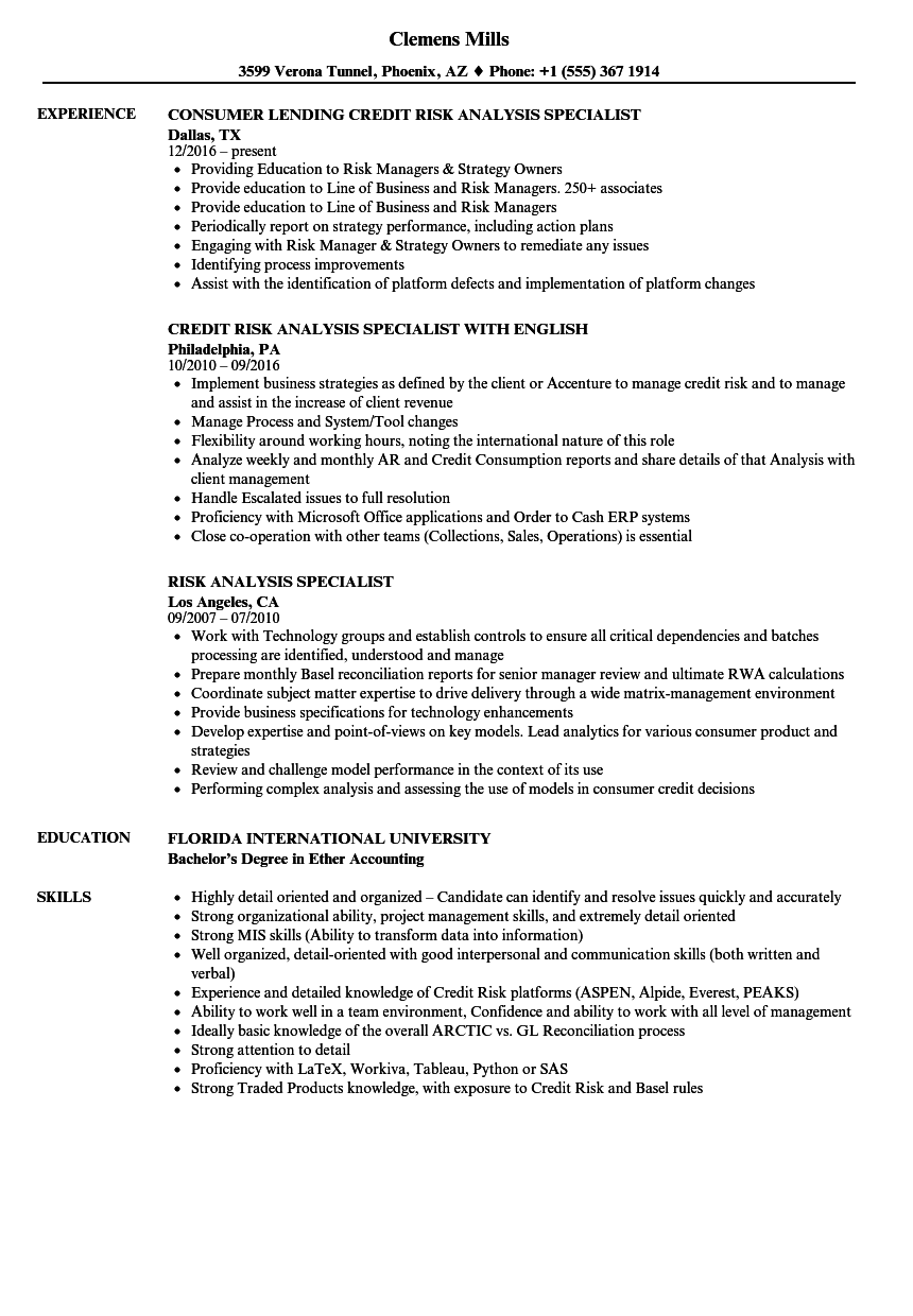 Risk Analysis Specialist Resume Samples Velvet Jobs
