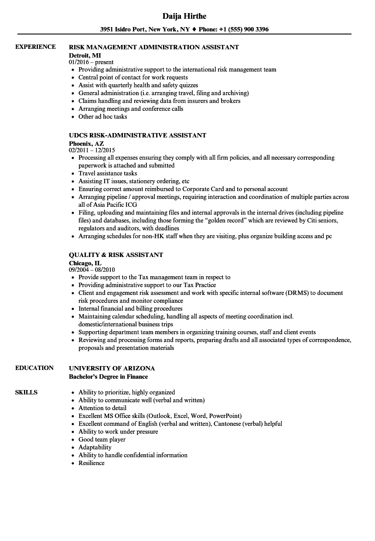 Risk Assistant Resume Samples | Velvet Jobs