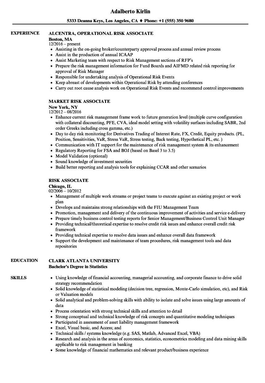 Risk Associate Resume Samples | Velvet Jobs