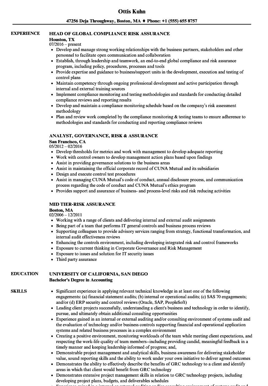 Risk Assurance Resume Samples | Velvet Jobs