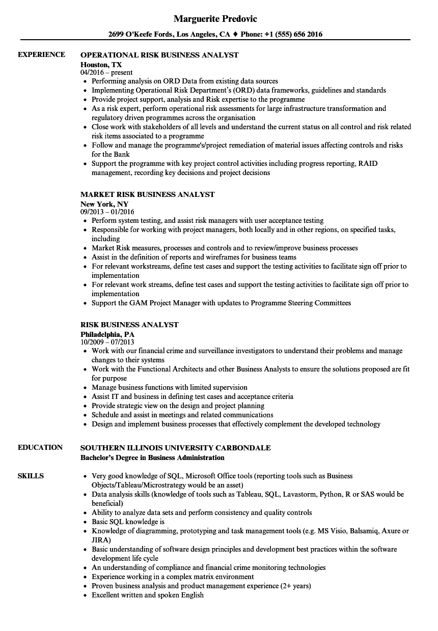 Risk Business Analyst Resume Samples Velvet Jobs