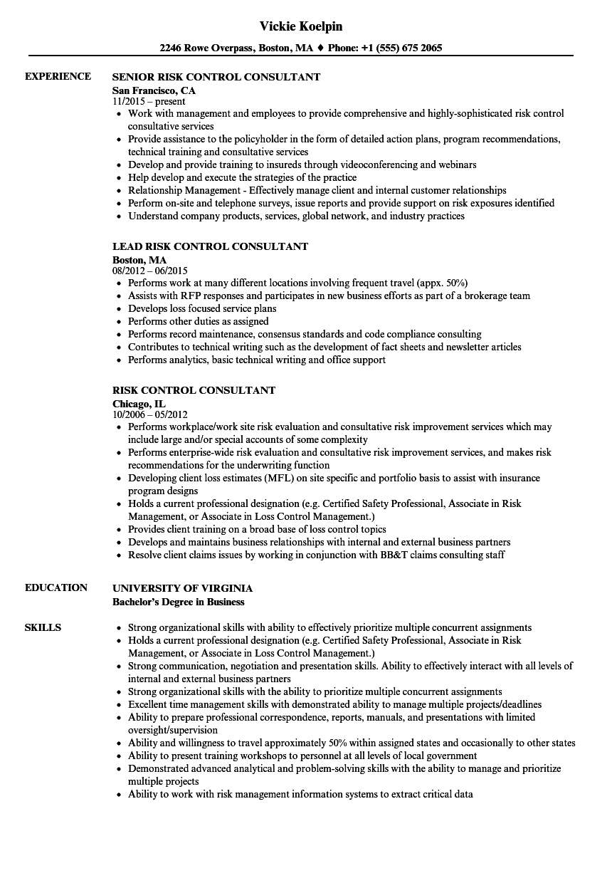 download risk control consultant resume sample as image file