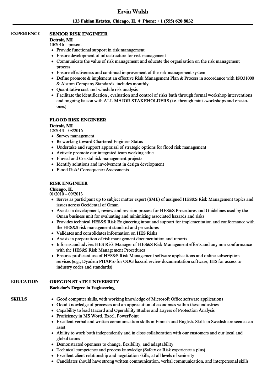 Risk Engineer Resume Samples Velvet Jobs