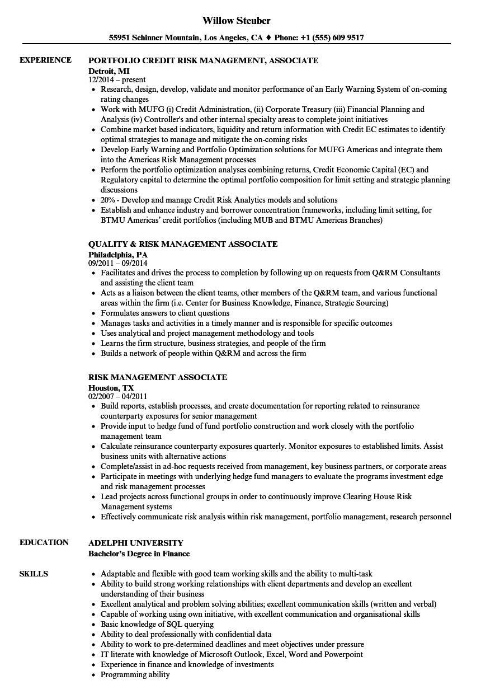 risk management associate resume samples