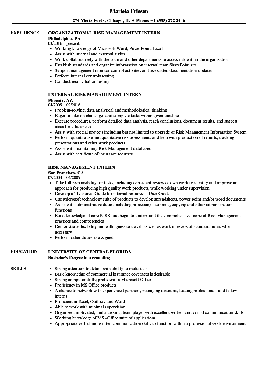 risk management intern resume samples