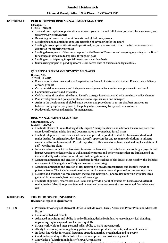 Risk Management Manager Resume Samples | Velvet Jobs
