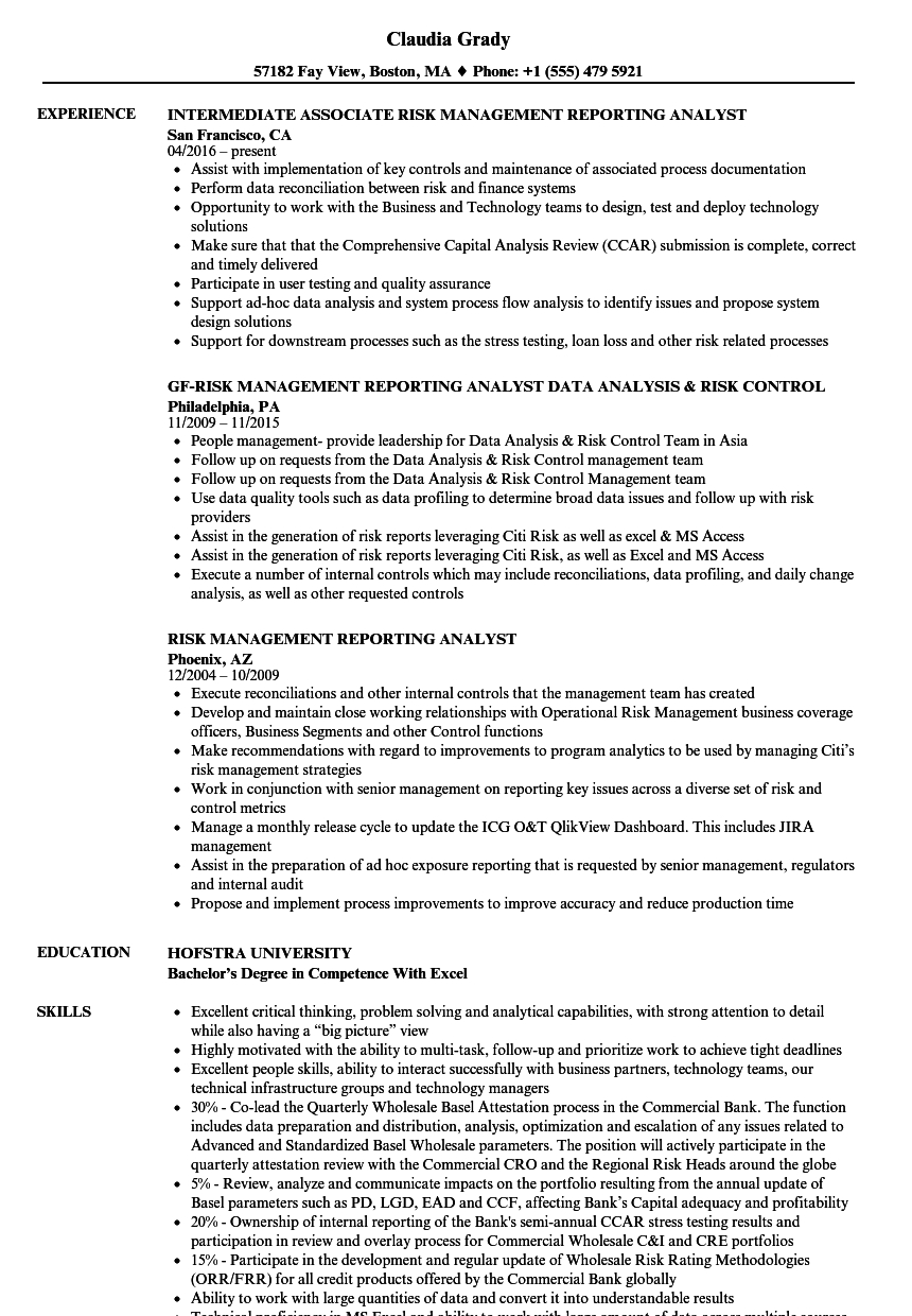 risk management reporting analyst resume samples