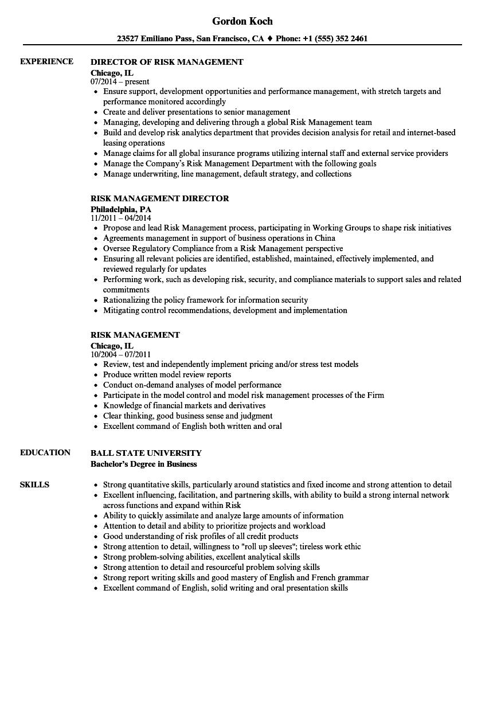 Risk Management Resume Samples | Velvet Jobs