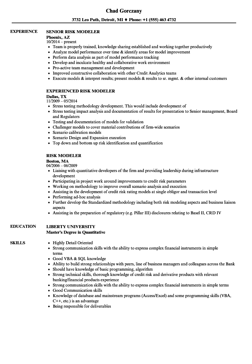 risk modeler resume samples