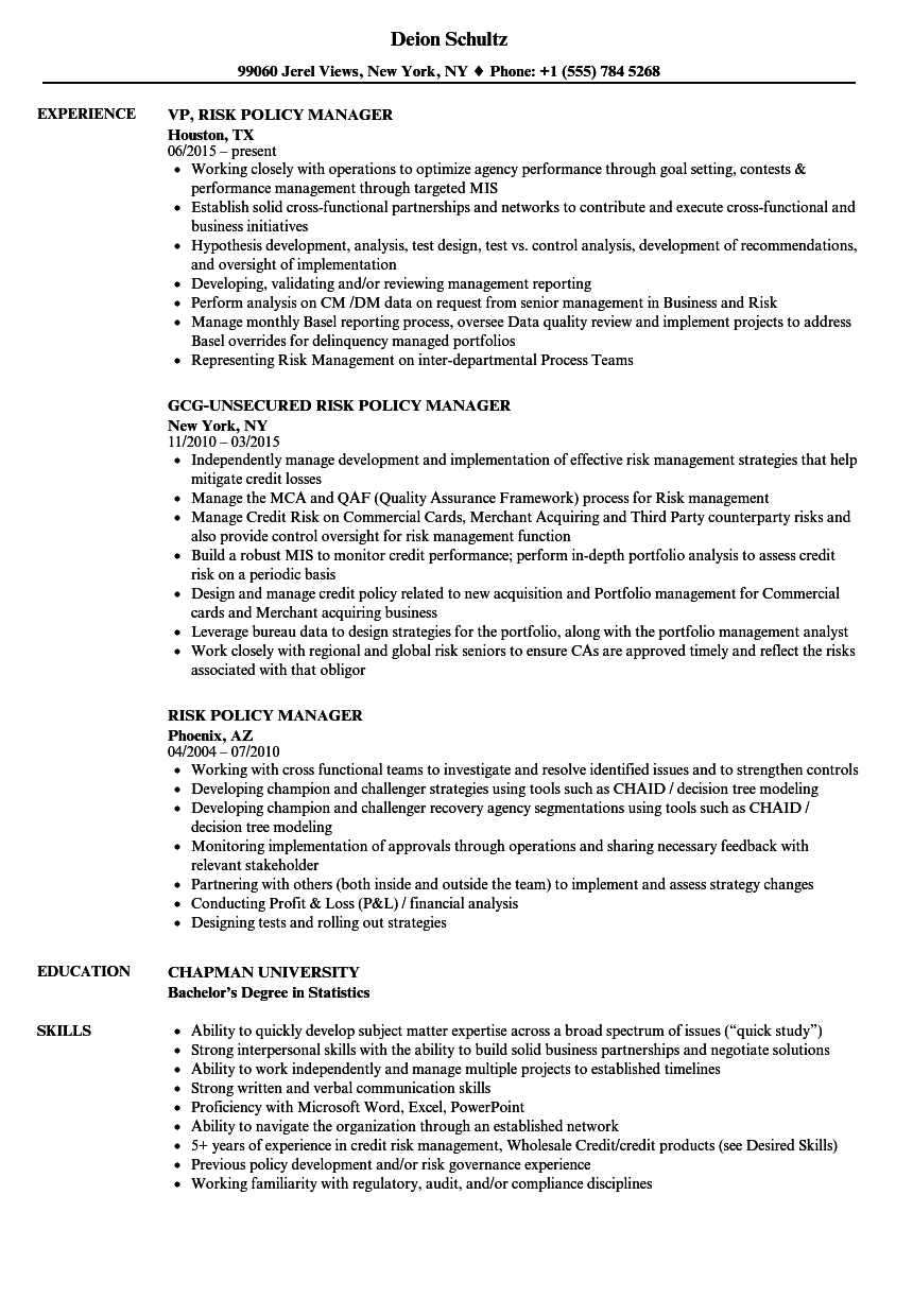 risk policy manager resume samples