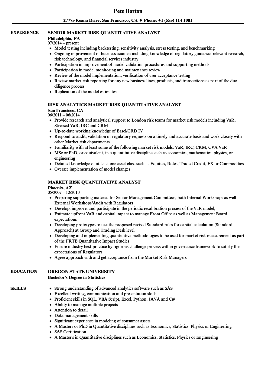risk quantitative analyst resume samples