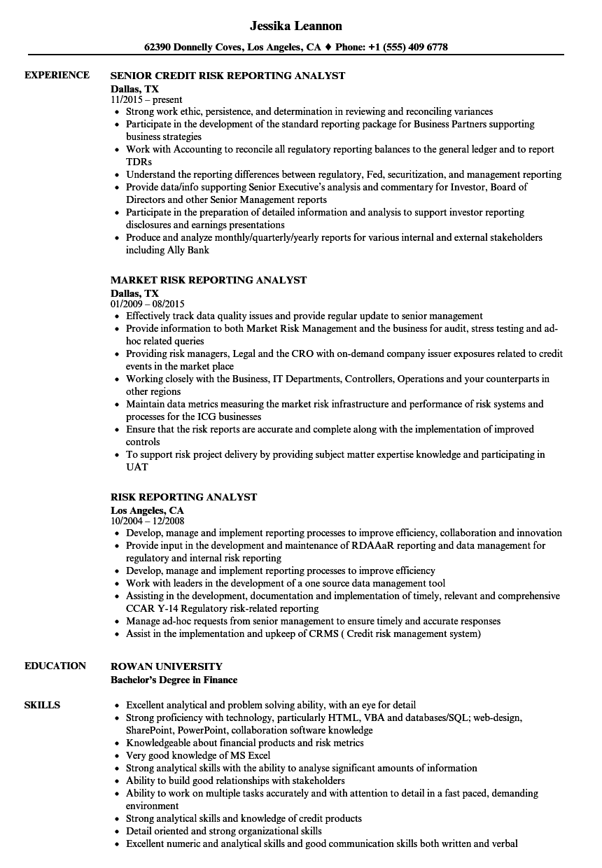 risk reporting analyst resume samples