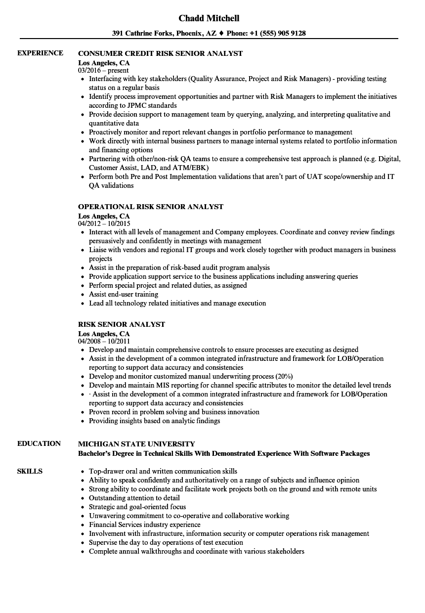 risk senior analyst resume samples