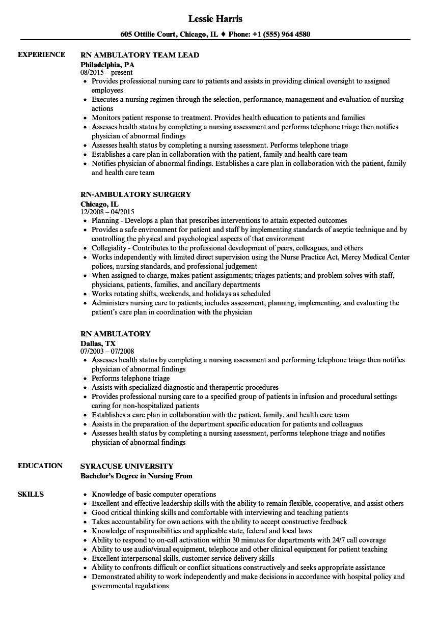 Rn Ambulatory Resume Samples Velvet Jobs