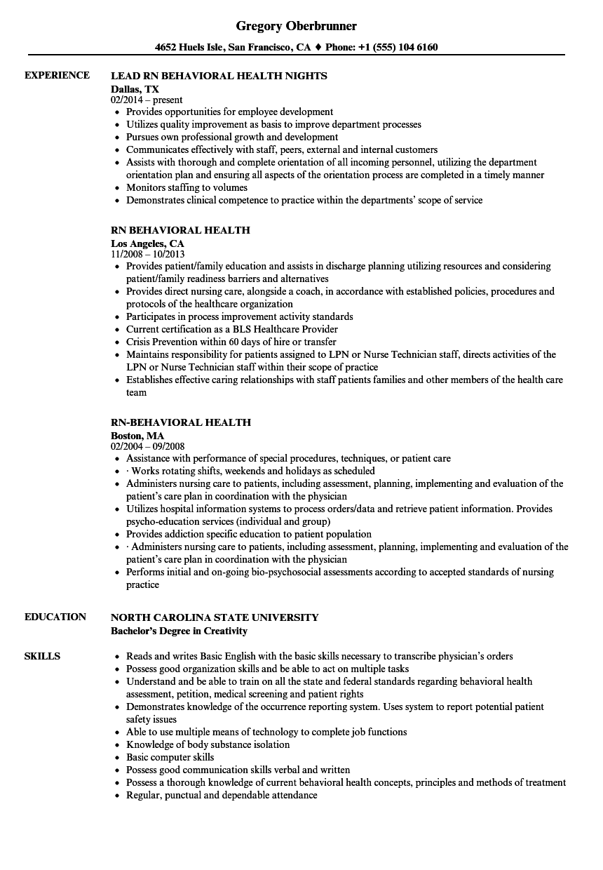 RN Behavioral Health Resume Samples | Velvet Jobs