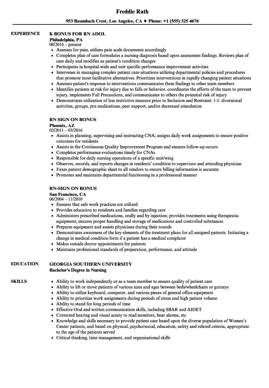 RN Bonus Resume Samples   Velvet Jobs