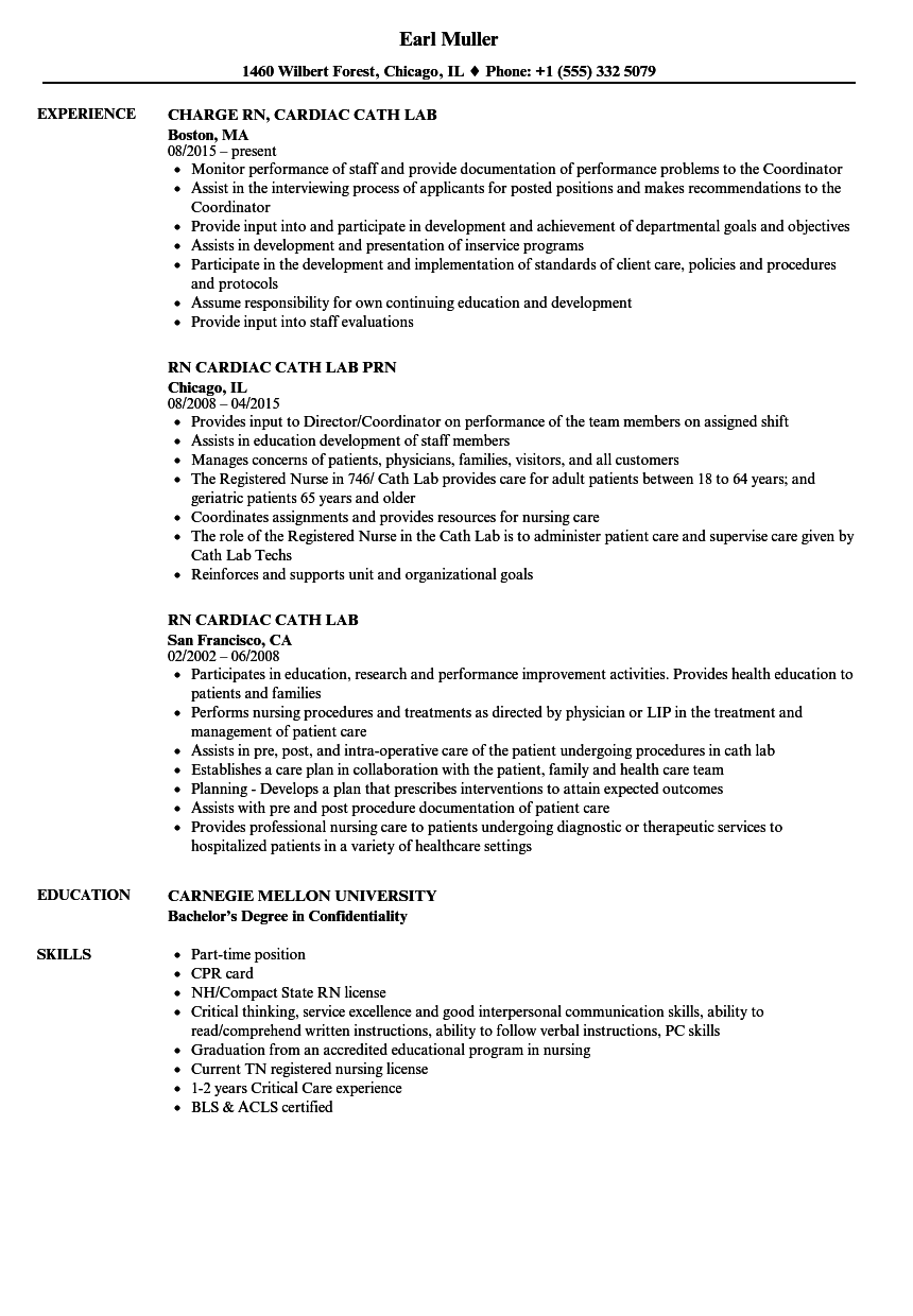 Rn Cardiac Cath Lab Resume Samples Velvet Jobs