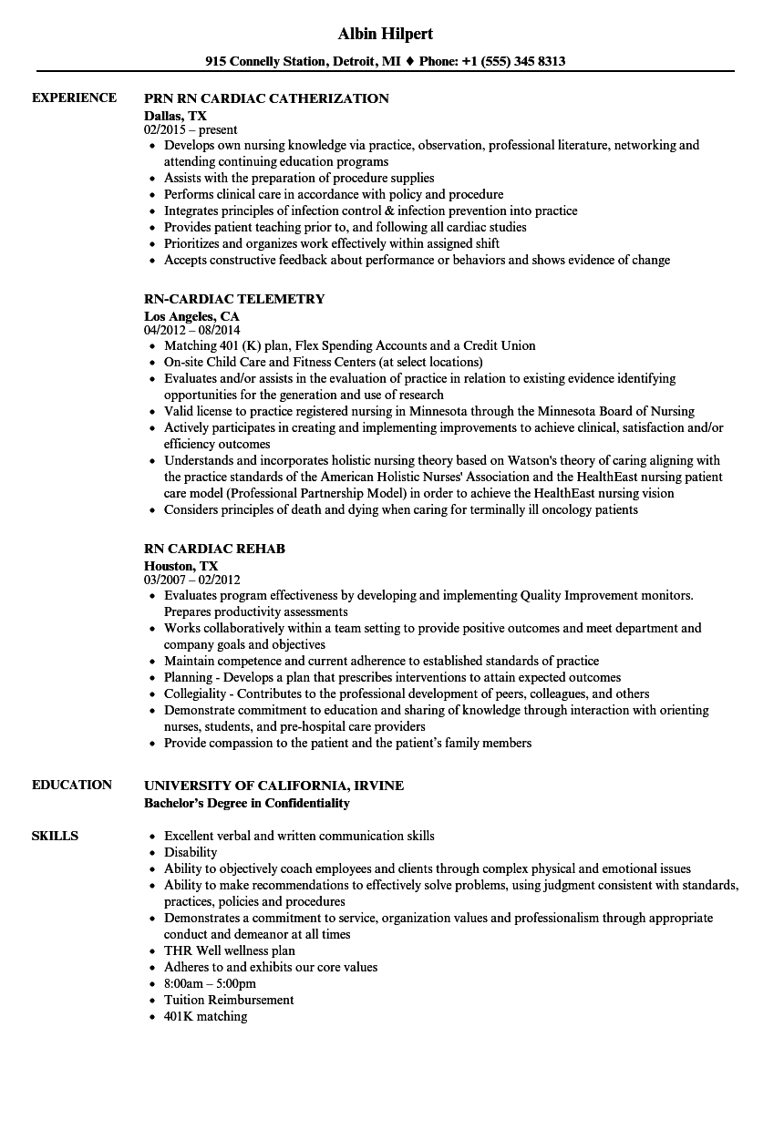 Rn Cardiac Resume Samples Velvet Jobs
