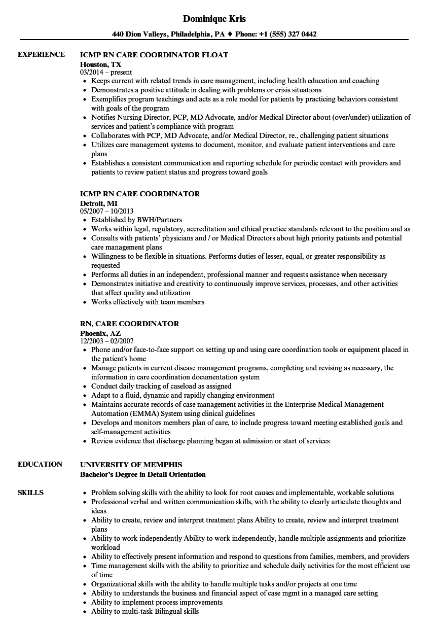 rn  care coordinator resume samples