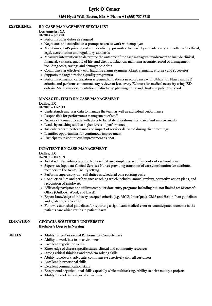 rn case management resume samples velvet jobs
