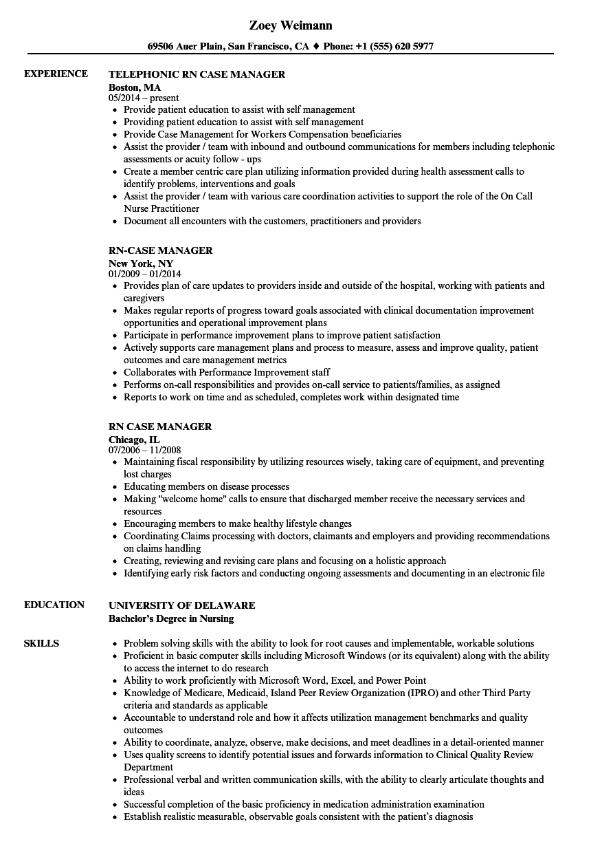 rn case manager resume samples velvet jobs
