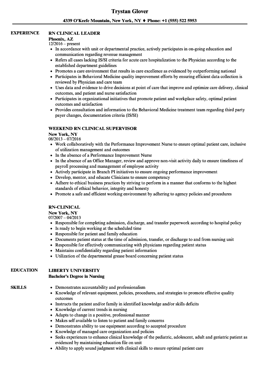 Rn-clinical Resume Samples | Velvet Jobs
