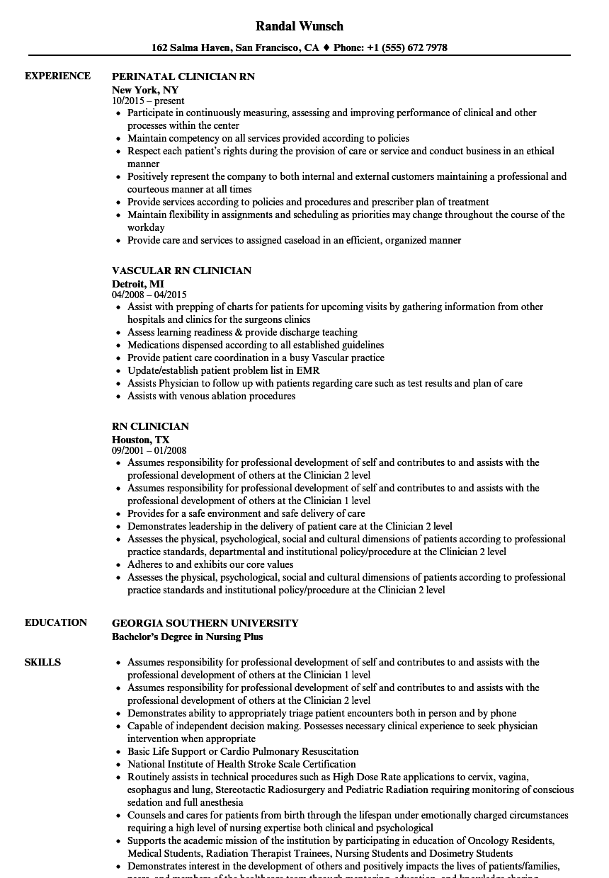rn clinician resume samples