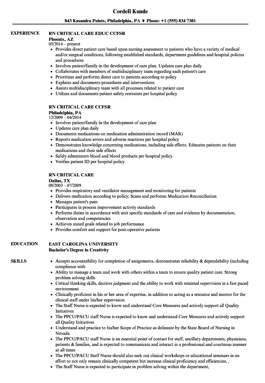 rn critical care resume samples