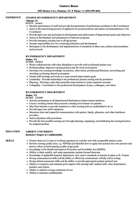 Rn Emergency Department Resume Samples Velvet Jobs
