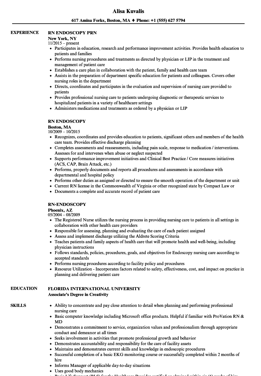Rn Endoscopy Resume Samples Velvet Jobs