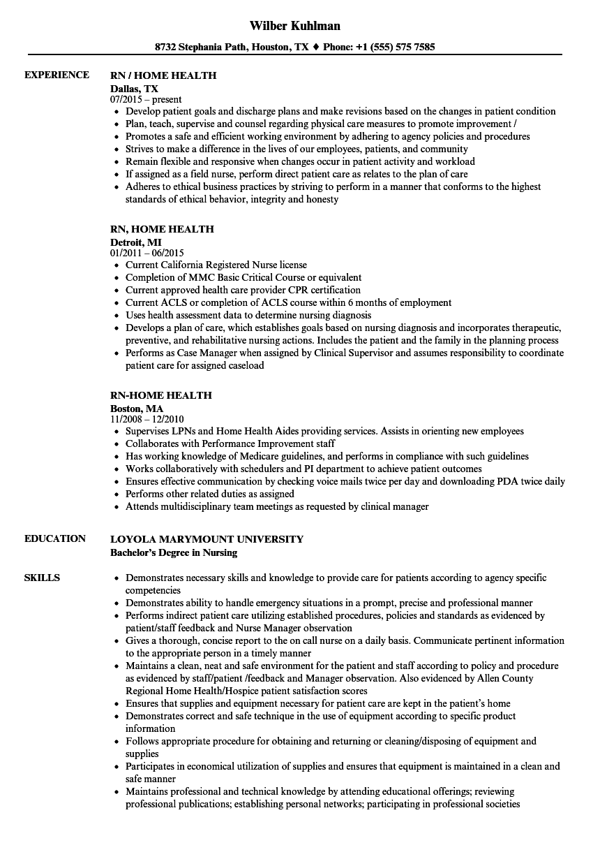 Rn Home Health Resume Samples Velvet Jobs