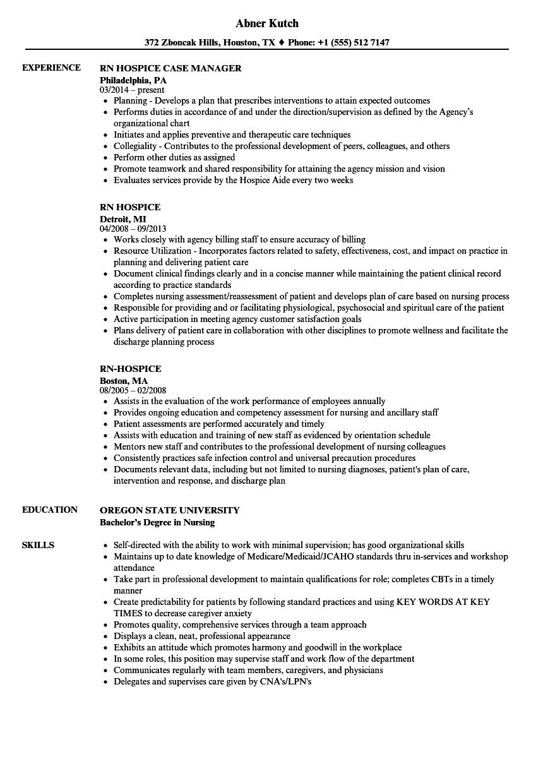 rn hospice resume samples