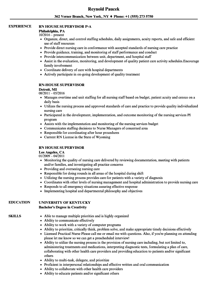 rn house supervisor resume samples velvet jobs