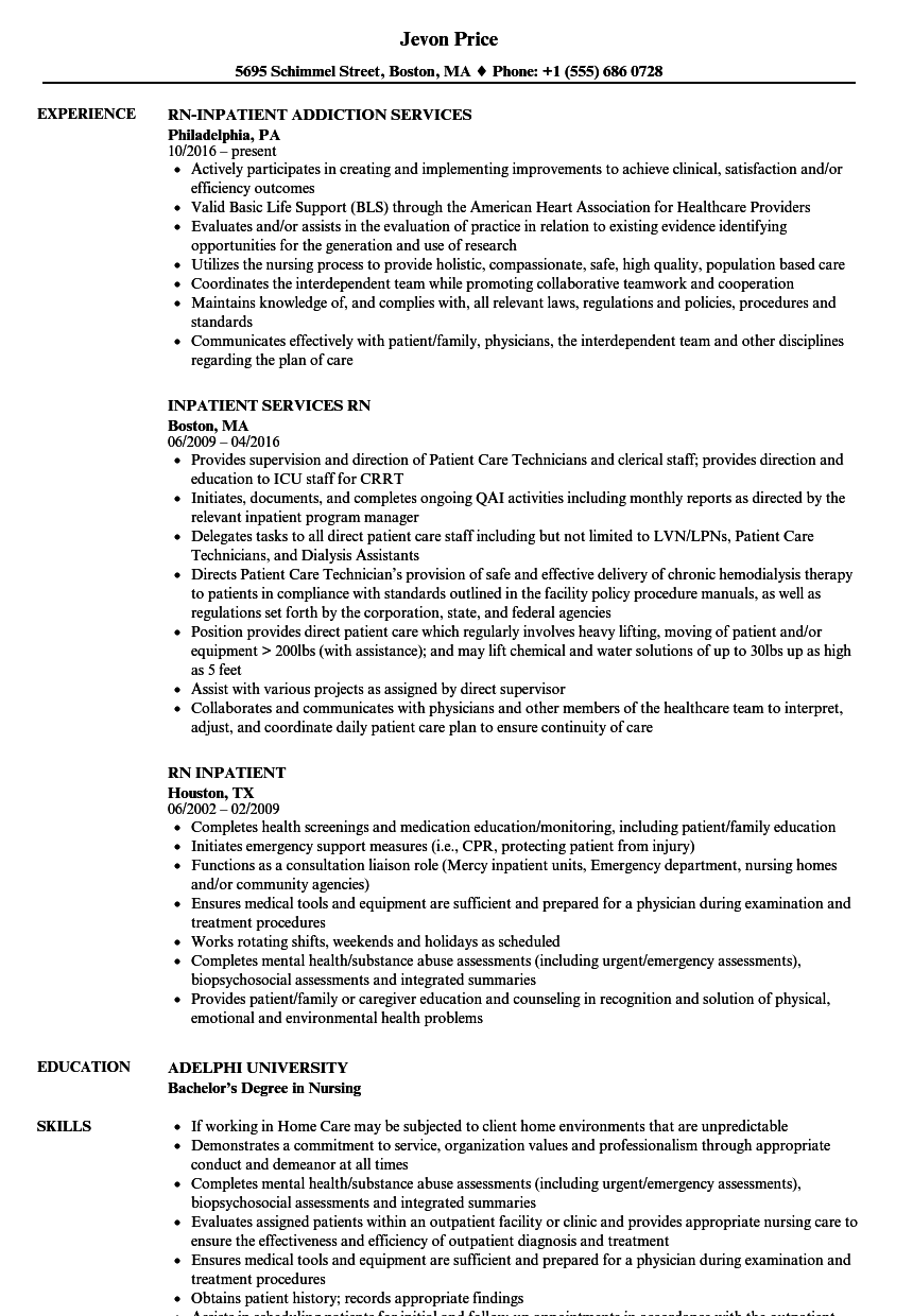 rn inpatient resume samples