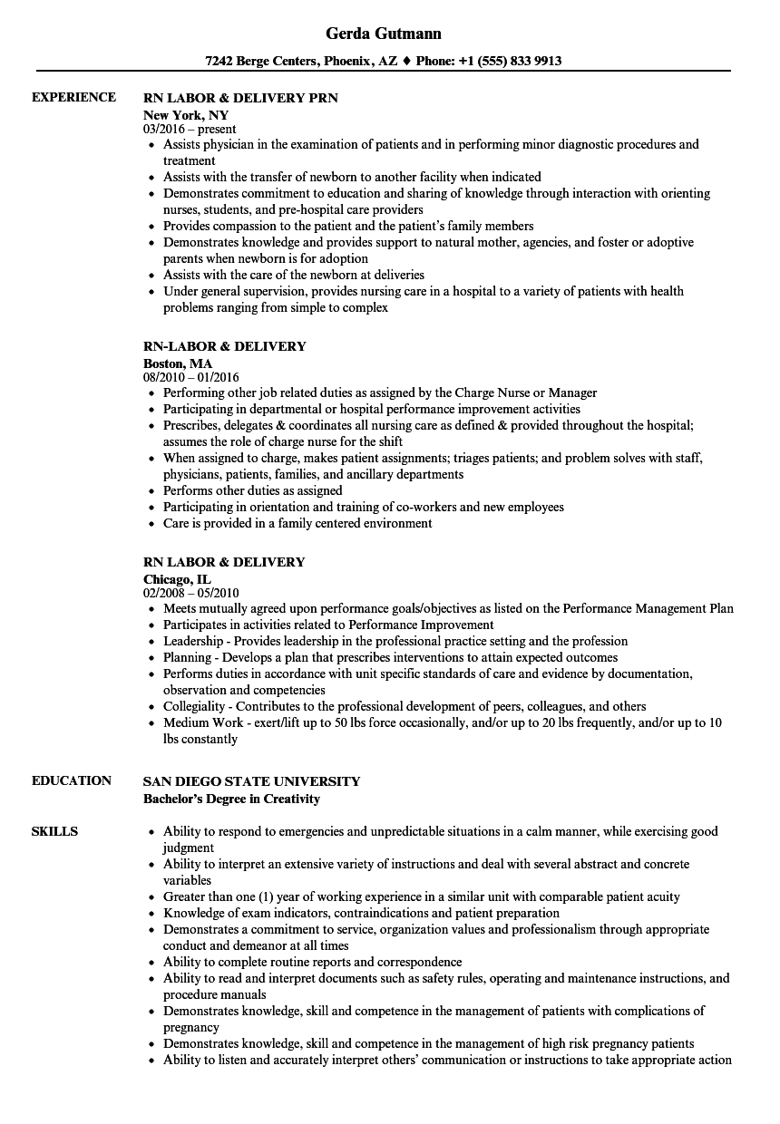 Rn Labor Delivery Resume Samples Velvet Jobs