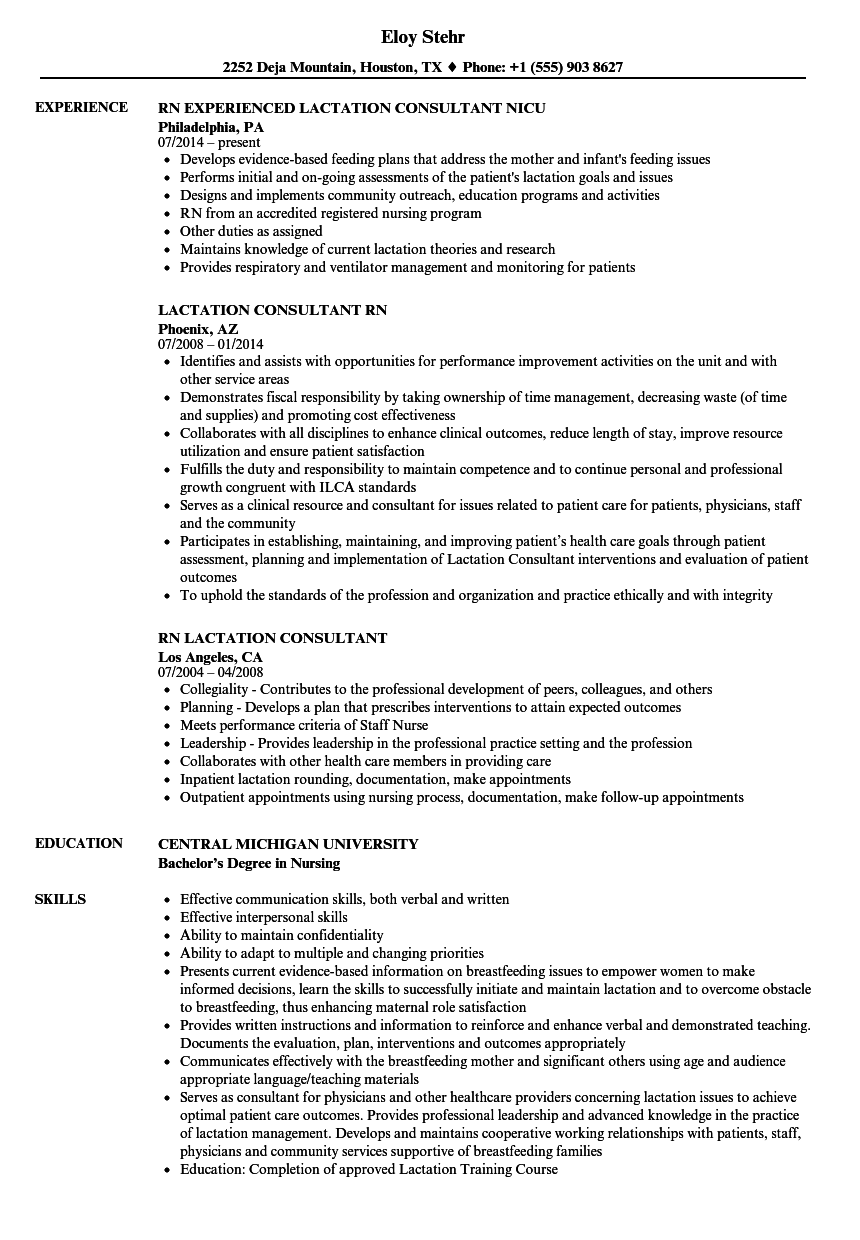 RN Lactation Consultant Resume Samples