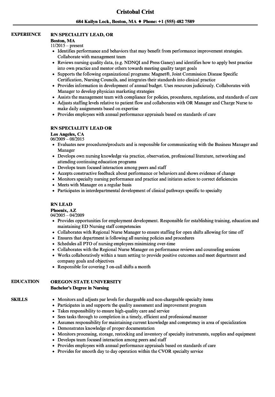 rn lead resume samples