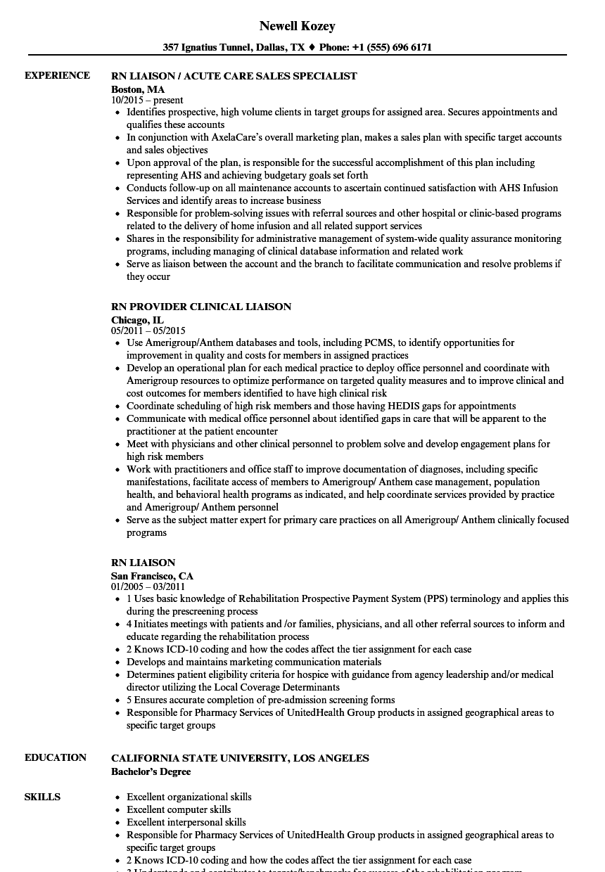 RN Liaison Resume Samples   Velvet Jobs