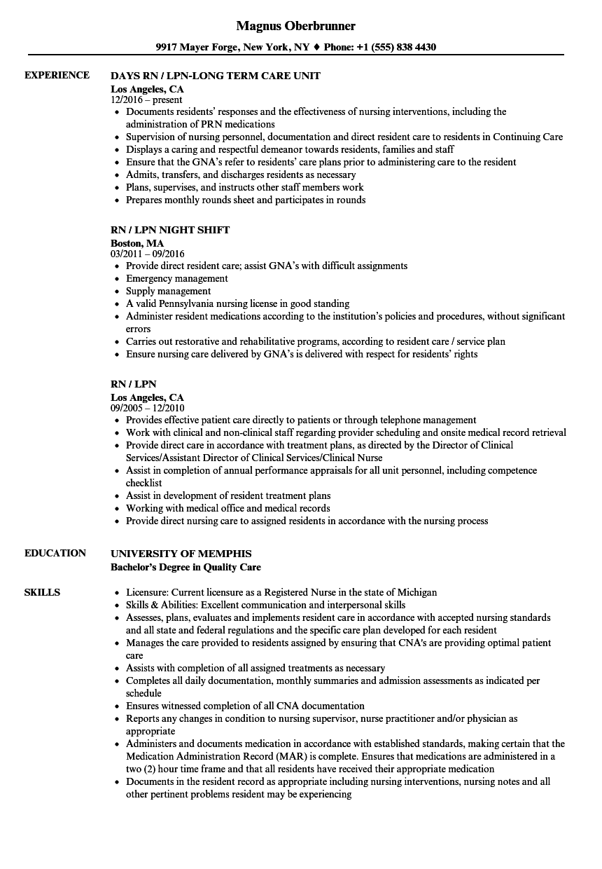 sample rn resume 1 year experience - rn lpn resume samples velvet jobs