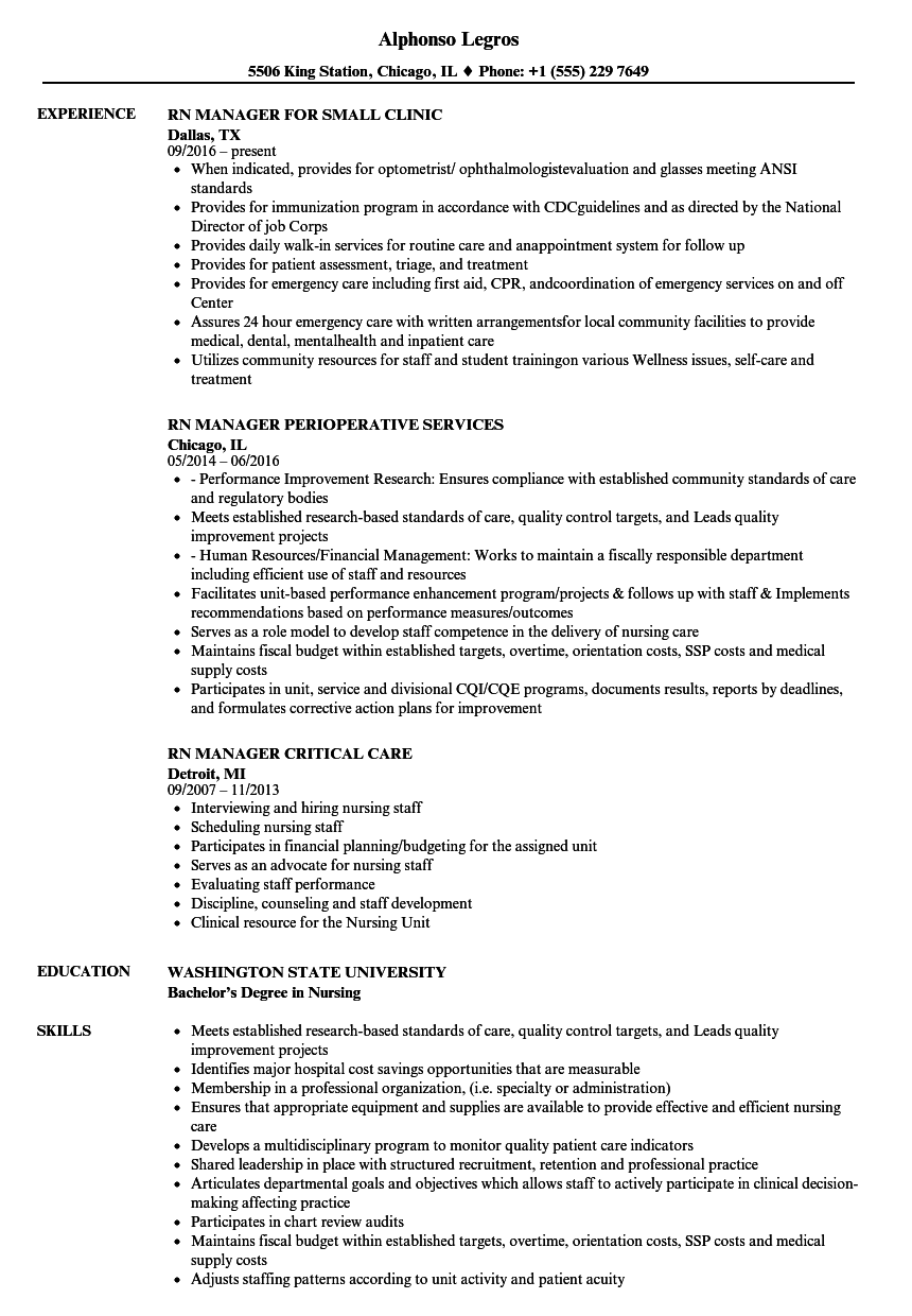 Rn-manager Resume Samples | Velvet Jobs