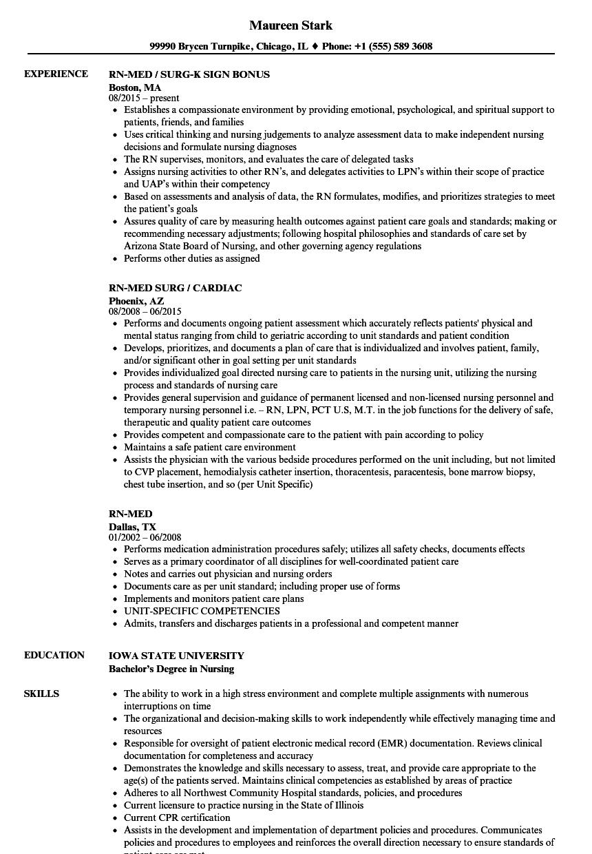 Download Rn Med Resume Sample As Image File  Med Surg Resume