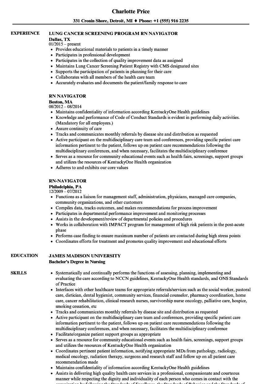 rn navigator resume samples
