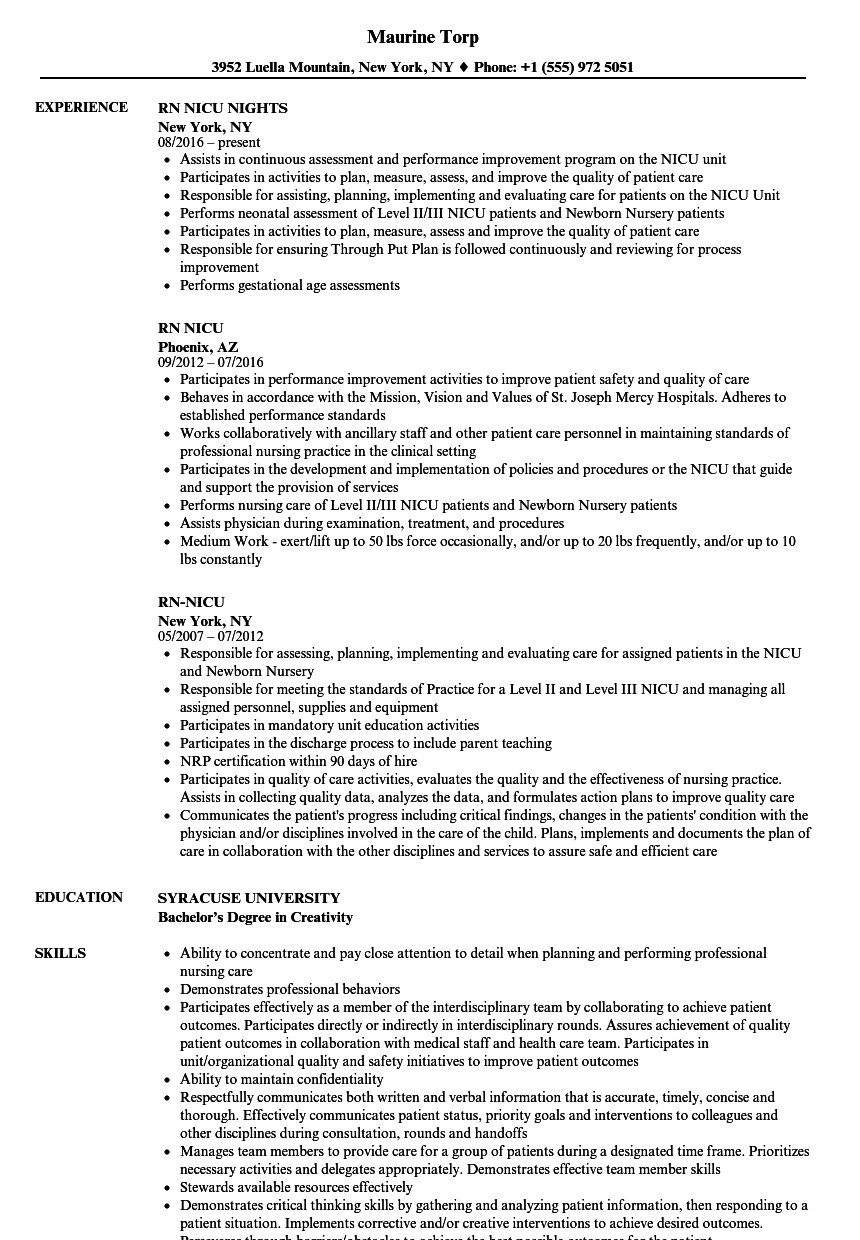 Rn Nicu Resume Samples Velvet Jobs